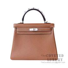 Hermes Kelly 25 Handbag CC37 Gold Togo And Shark Handle SHW
