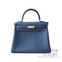 Hermes Kelly 25 Handbag 1P Blue Ocean Togo GHW