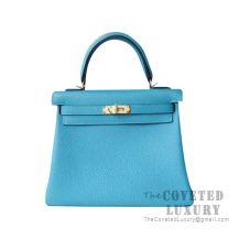 Hermes Kelly 25 Handbag 7B Turquoise Blue Togo GHW