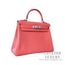 Hermes Kelly 25 Handbag 8T Rose Candy Togo SHW
