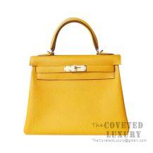 Hermes Kelly 25 Handbag 9D Ambre Togo GHW