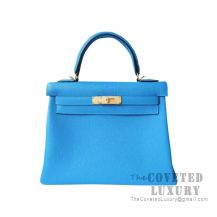 Hermes Kelly 25 Handbag B3 Blue Zanzibar Togo GHW