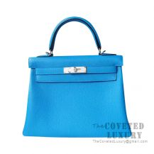 Hermes Kelly 25 Handbag B3 Blue Zanzibar Togo SHW