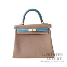 Hermes Kelly 25 Handbag CC18 Etoupe And CC75 Blue Jean Togo GHW