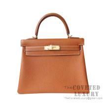 Hermes Kelly 25 Handbag CC37 Gold Togo GHW