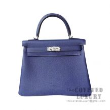 Hermes Kelly 25 Handbag CC73 Blue Saphir Togo SHW