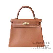 Hermes Kelly 25 Handbag CK37 Gold Togo GHW