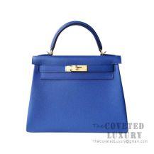 Hermes Kelly 25 Handbag I7 Blue Zellige Togo GHW