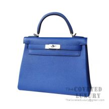 Hermes Kelly 25 Handbag I7 Blue Zellige Togo SHW