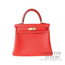 Hermes Kelly 25 Handbag S5 Rouge Tomate Togo GHW