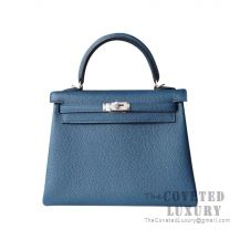 Hermes Kelly 25 Handbag S7 Blue Galice Togo SHW