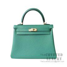 Hermes Kelly 25 Handbag U4 Vert Vertigo Togo GHW