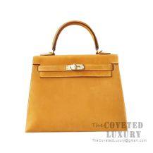 Hermes Kelly 25 Handbag 9V Jaune D'Or Grizzly GHW
