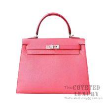 Hermes Kelly 25 Handbag 8W Rose Azalee Chevere SHW