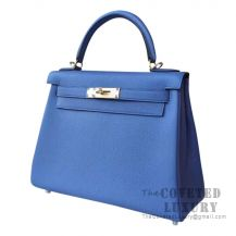 Hermes Kelly 28 Handbag 7E Blue Brighton Togo SHW