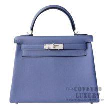 Hermes Kelly 28 Handbag 7E Blue Brighton And 4Z Gris Mouette Togo SHW