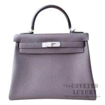 Hermes Kelly 28 Handbag 8F Etain And 7W Blue Izmir Togo SHW