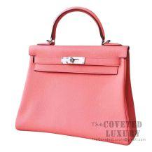 Hermes Kelly 28 Handbag 8T Rose Candy Togo SHW