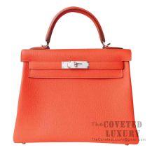 Hermes Kelly 28 Handbag 8V Orange Poppy Togo SHW