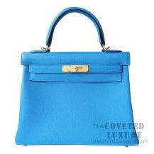 Hermes Kelly 28 Handbag B3 Blue Zanzibar Togo GHW