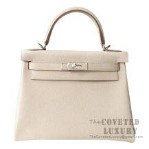 Hermes Kelly 28 Handbag CC10 Craie Togo SHW