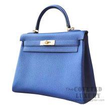 Hermes Kelly 28 Handbag CC73 Blue Saphir Togo SHW