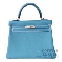 Hermes Kelly 28 Handbag CC75 Blue Jean Togo SHW