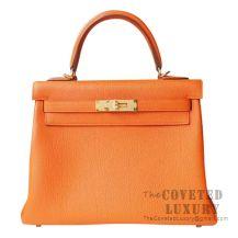 Hermes Kelly 28 Handbag CC93 Orange Togo GHW