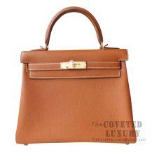 Hermes Kelly 28 Handbag CK37 Gold Togo GHW