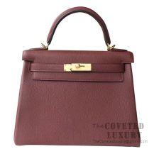 Hermes Kelly 28 Handbag CK55 Rouge H Togo GHW