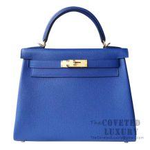Hermes Kelly 28 Handbag I7 Blue Zellige Togo GHW