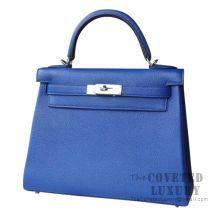 Hermes Kelly 28 Handbag I7 Blue Zellige Togo SHW