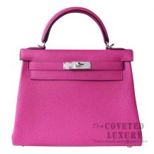 Hermes Kelly 28 Handbag L3 Rose Purple Togo SHW