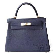 Hermes Kelly 28 Handbag M3 Blue Encre Togo GHW