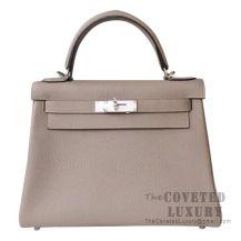Hermes Kelly 28 Handbag M8 Gris Asphalt Togo SHW