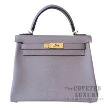 Hermes Kelly 28 Handbag M8 Gris Asphalt And 9D Ambre Togo GHW
