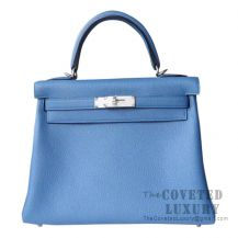 Hermes Kelly 28 Handbag R2 Blue Agate Togo SHW