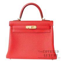 Hermes Kelly 28 Handbag S5 Rouge Tomate Togo GHW