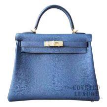 Hermes Kelly 28 Handbag S7 Blue De Galice Togo GHW