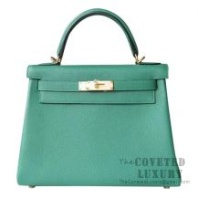 Hermes Kelly 28 Handbag U4 Vert Vertigo Togo GHW