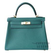 Hermes Kelly 28 Handbag Z6 Malachite Togo GHW