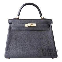 Hermes Kelly 28 Handbag 89 Noir Togo GHW