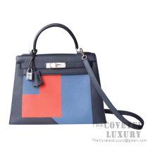 Kellygraphie Hermes Kelly 28 Handbag Letter R Sellier 2Z Bieu Nuit Togo And Clemence Swift SHW