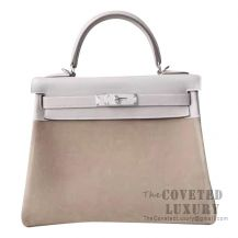 Hermes Kelly 28 Handbag 4B Biscuit Swift And Grizzly SHW