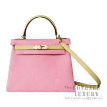 Hermes Kelly 28 Handbag 1Q Rose Confetti And 1Z Jaune Poussin Chevere GHW