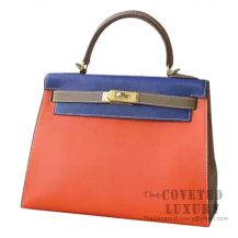 Hermes Kelly 28 Handbag 8V Orange Poppy And 7T Blue Electric And CC18 Etoupe Chevere GHW
