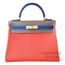 Hermes Kelly 28 Handbag 9J Feu And CC18 Etoupe And 7T Blue Electric Chevere GHW