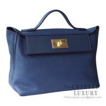 Hermes Kelly 24/24 Bag 29 CM CC73 Blue Saphir Togo GHW