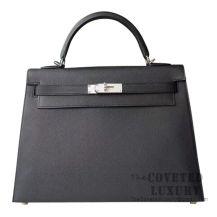 Hermes Kelly 32 Bag 89 Noir Epsom SHW