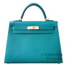 Hermes Kelly 32 Bag Z6 Malachite Epsom GHW